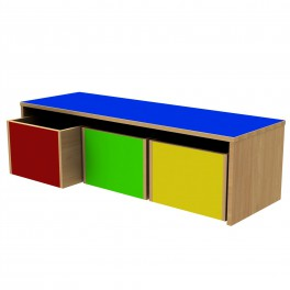 Classroom bench with drawers